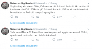 Frequenza 120Hz Apple l'incubo di Android